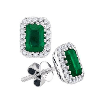 14kt White Gold Womens Cushion Natural Emerald Solitaire Diamond Screwback Earrings 1-1/2 Cttw