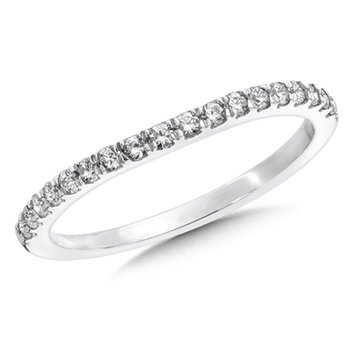 Pave set Curved Diamond Wedding Band 14k White Gold (1/4ct. tw.)