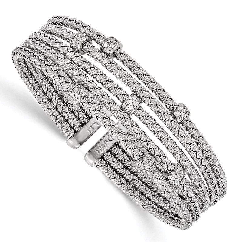 Leslie's Leslie's Sterling Silver Rhodium-plated CZ Woven Flexible Cuff