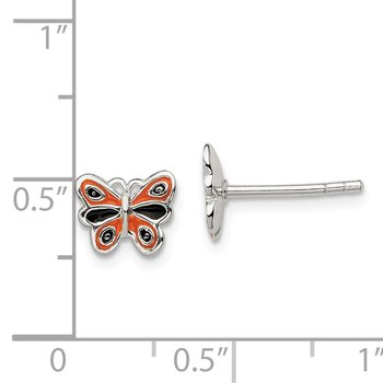 Sterling Silver Enamel Kid's Butterfly Post Earrings