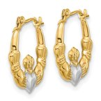Quality Gold 14k w/White Rhodium Polished Claddagh Hoops