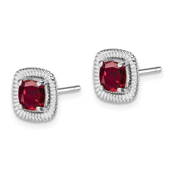 Sterling Silver Rhod-plat Created Ruby Square Post Earrings