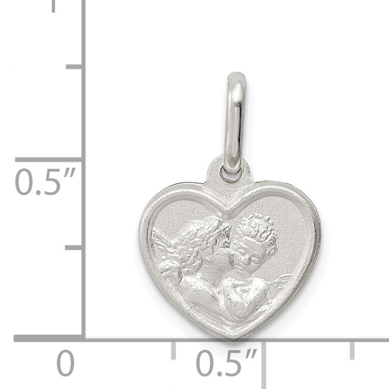 Quality Gold Sterling Silver Satin Angel Heart Charm