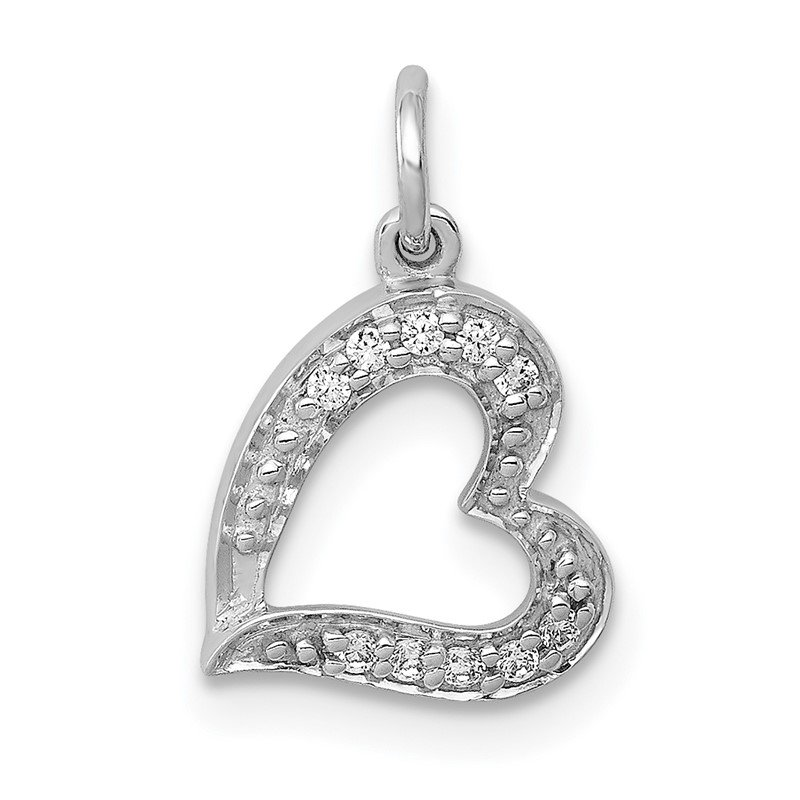 Quality Gold 14k White Gold 1/20ct. Diamond Curved Heart Charm