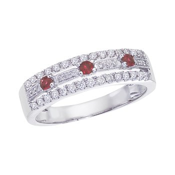 14k White Gold Ruby and .28 ct Diamond Band