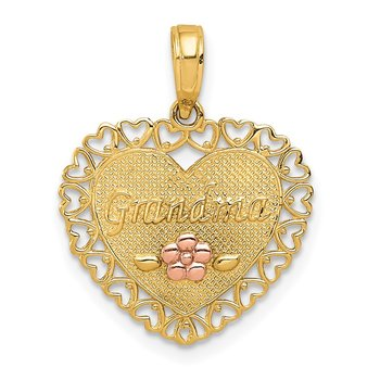 14k Two-Tone GRANDMA Heart w/Flower Charm