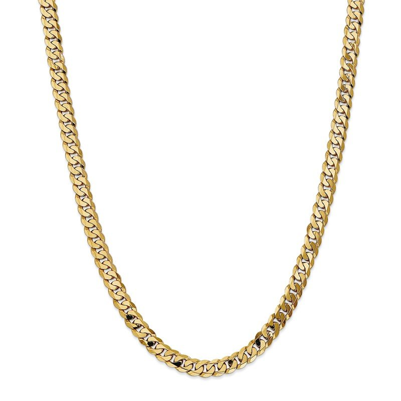 Quality Gold 14k 7.25mm Flat Beveled Curb Chain