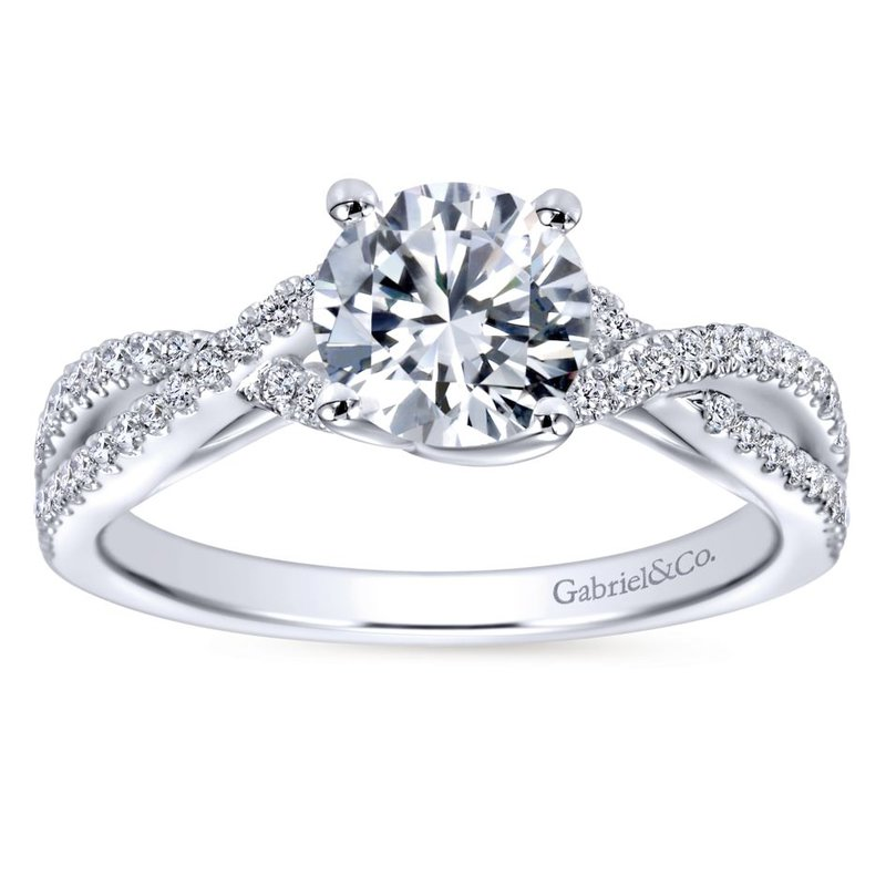 Gabriel  14K White Gold Round Twisted Diamond Engagement Ring