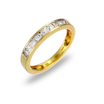 14K YG Diamond Princes Cut Wedding Band Ring