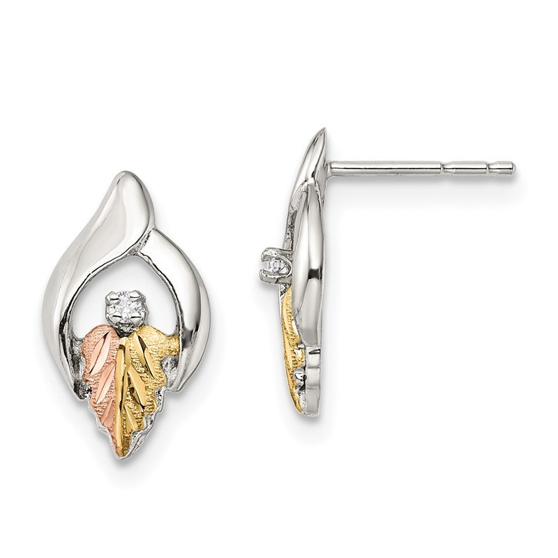 Arizona Diamond Center Collection Sterling Silver & 12k Accents Heart Post Earrings