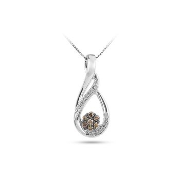 925 SS Champagne and White Diamond Teardrop Slider Pendant with Row of Dia on the Side & Cluster of Champagne Diamonds in the Center