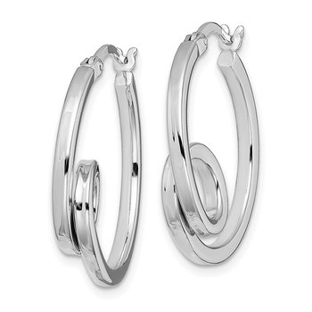 Sterling Silver Rhodium Plated Twisted Hoop Earrings