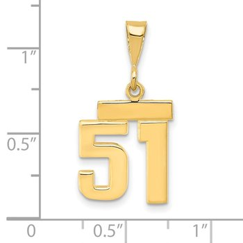 14k Small Polished Number 51 Charm