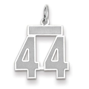 14k WG Small Satin Number 44 Charm