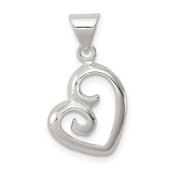 Sterling Silver Polished Fancy Swirl Heart Pendant