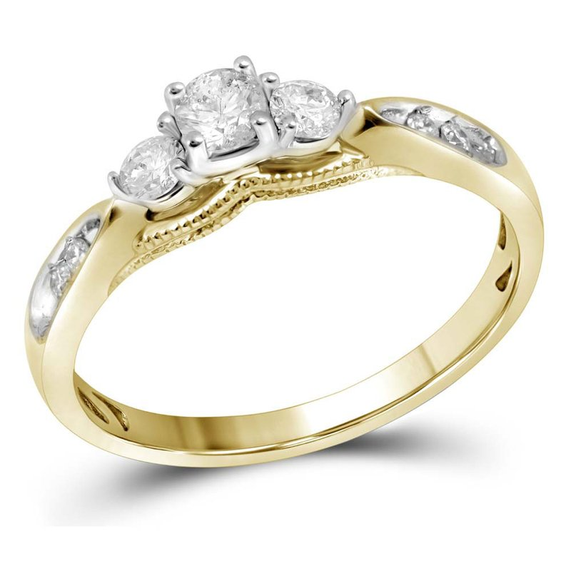 Gold-N-Diamonds, Inc. (Atlanta) 10kt Yellow Gold Womens Round Diamond 3-stone Bridal Wedding Engagement Ring 3/8 Cttw
