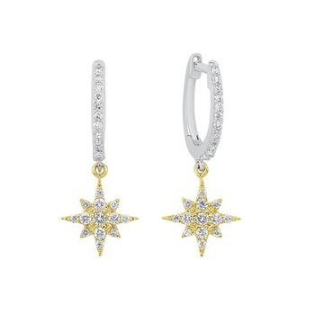 Starburst Diamond Drop Earrings in Two-Tone 14K Gold (1/4 ct. tw.)