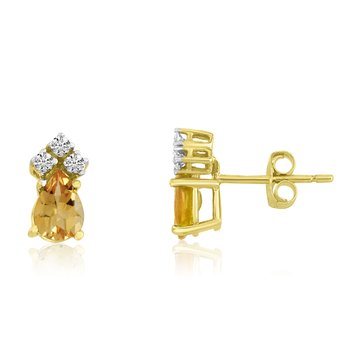 14k Yellow Gold Citrine Pear Earrings with Diamonds