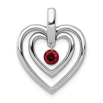 14k White Gold 1/6ct. Red Diamond Double Heart Pendant