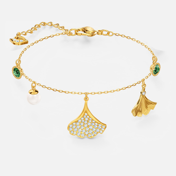 Stunning Ginko Bracelet, Green, Gold-tone plated