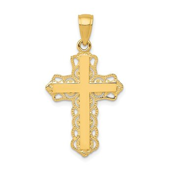 14K Lace Trim Cross Pendant