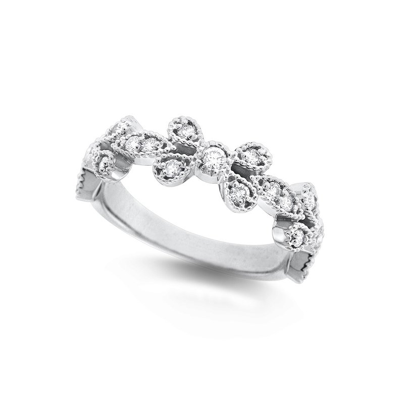 KC Designs Diamond Floral Stack Ring in 14K White Gold with 19 Diamonds Weighing .34 ct tw
