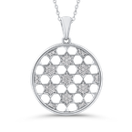 Essentials 10K White Gold 1/4 Ct Diamond Circle Pendant with Chain