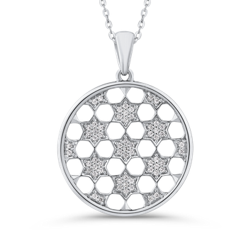 10K White Gold 1/4 Ct Diamond Circle Pendant with Chain