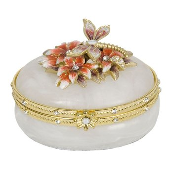 Dragonfly and Lily Oval Trinket Box