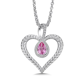 Sterling silver and created pink sapphire heart pendant