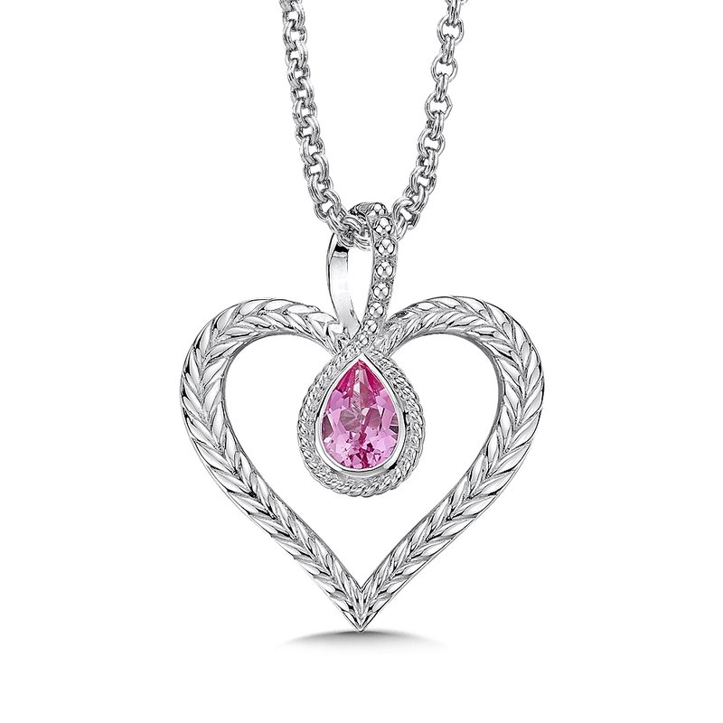 Colore Sg Sterling silver and created pink sapphire heart pendant