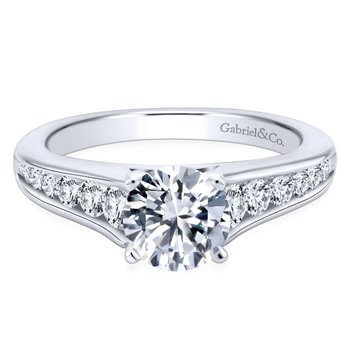 14k White Gold Graduating Pave Diamond Engagement Ring with Cathedral Setting