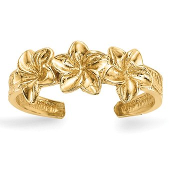 14k Polished Flowers Toe Ring