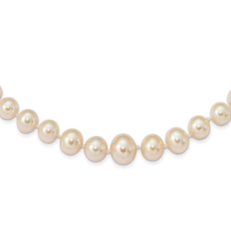 Quality Gold 14k 4-8mm White Freshwater Cultured Pearl Graduated Necklace