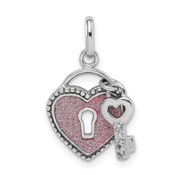 Sterling Silver Rhodium-plated Glitter Infused Heart and Key Pendant
