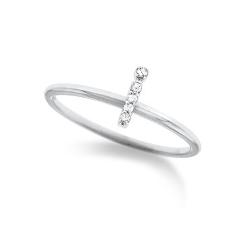 "Diamond Typewriter Initial ""I"" Ring"