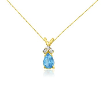 14k Yellow Gold 7X5 Blue Topaz Pear Pendant with Diamonds