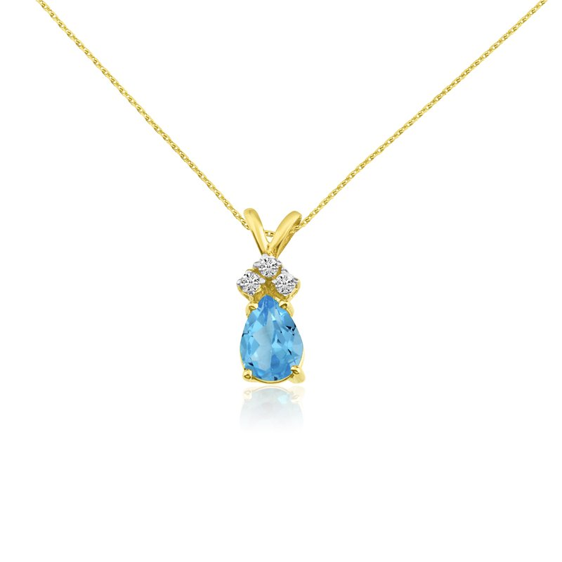 Color Merchants 14k Yellow Gold 7X5 Blue Topaz Pear Pendant with Diamonds