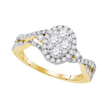 10kt Yellow Gold Womens Round Diamond Oval Cluster Halo Twist Bridal Wedding Engagement Ring 1.00 Cttw