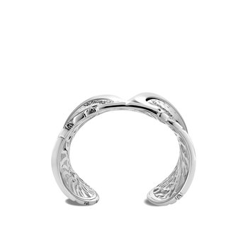 Lahar 60MM Cuff in Silver with Diamonds