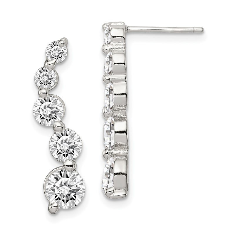 Quality Gold Sterling Silver CZ Journey Earrings