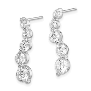 Sterling Silver CZ Journey Earrings