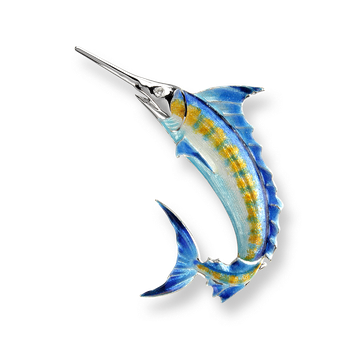 Sterling Silver Blue Marlin Brooch-Blue. Diamonds.