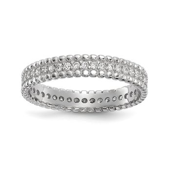 Sterling Silver Rhodium-plated Polished CZ 3.5mm Band