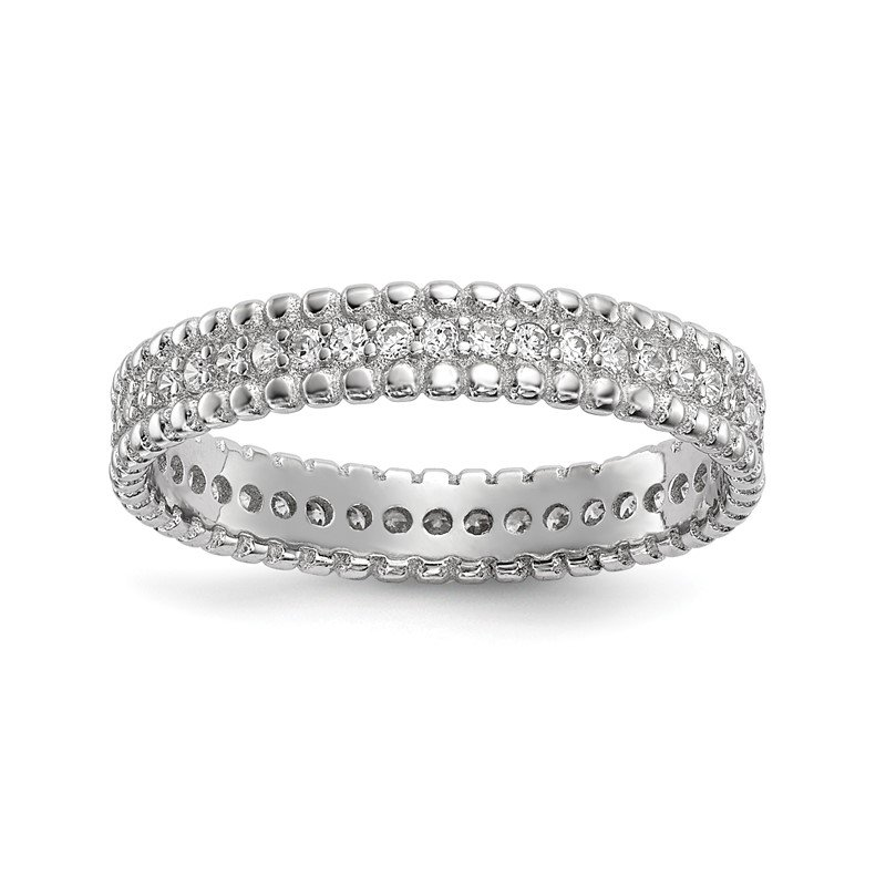 Quality Gold Sterling Silver Rhodium-plated Polished CZ 3.5mm Band