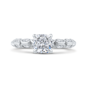 18K White Gold Bezel Set Double Row Cushion Diamond Engagement Ring (Semi-Mount)
