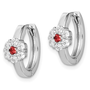 Sterling Silver Rhodium-plated Red/White CZ Flower Hoop Earrings