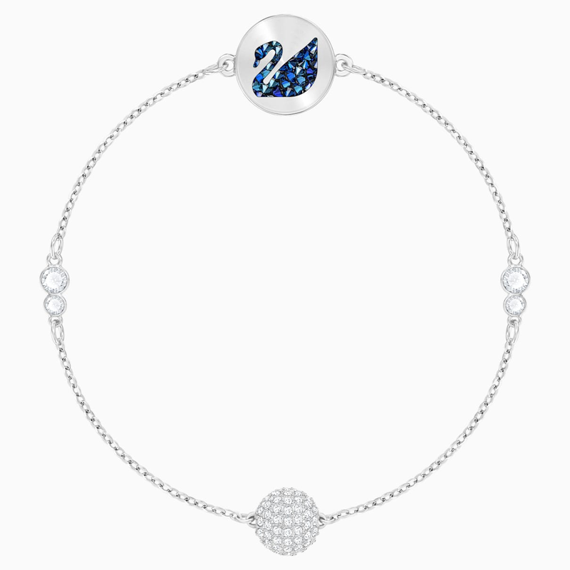 Swarovski Swarovski Remix Collection Swan Strand, Blue, Rhodium plated