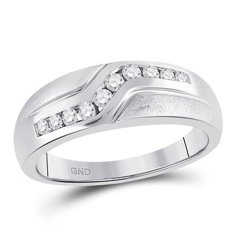 10kt White Gold Mens Round Diamond Curved Single Row Matte Band Ring 1/3 Cttw