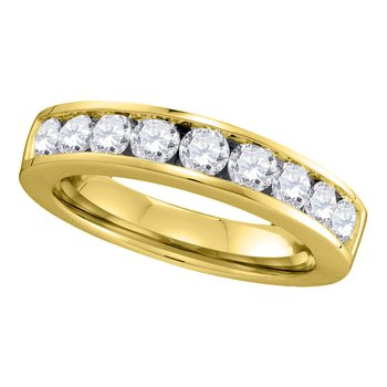 14kt Yellow Gold Womens Round Channel-set Diamond Single Row Wedding Band 1.00 Cttw - Size 8